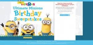 Birthday Sweepstakes - 5 minions sweepstakes celebrating the minions movie