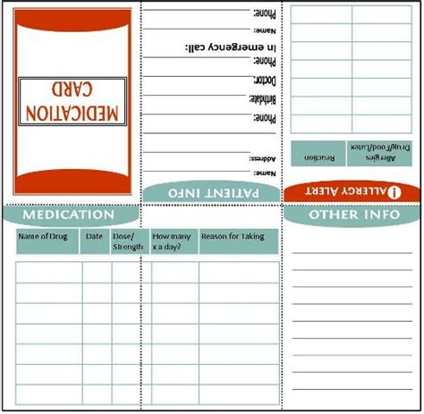 medication card template home management binder about us family emergency