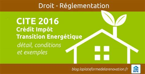 Credit Impot Formation Dirigeant Bnc 2016 Cr 233 Dit Imp 244 T Transition Energ 233 Tique 2016 Cite Aides Travaux