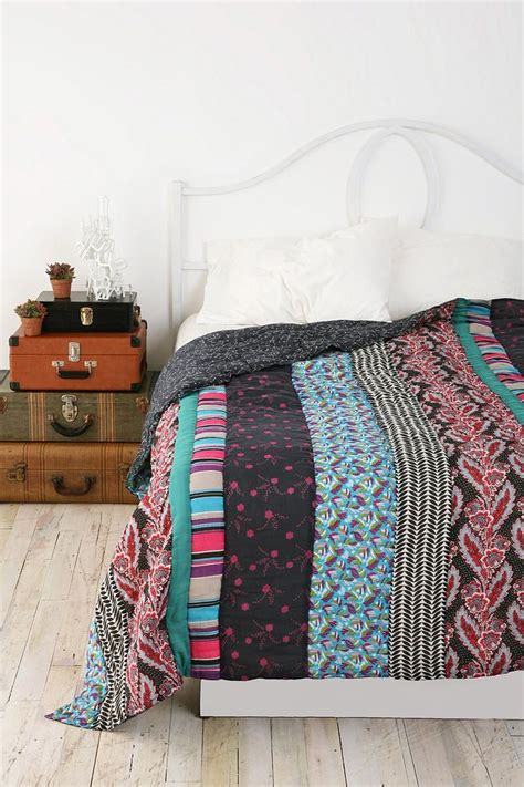 bed blankets bohemian stripe patchwork quilt concept white bedding