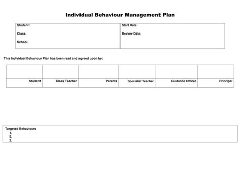 individual behaviour management plan template early years whole school teaching resources planning and