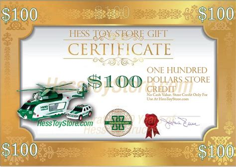 Hess Gift Card - hess gift certificate 100 jackie s toy store