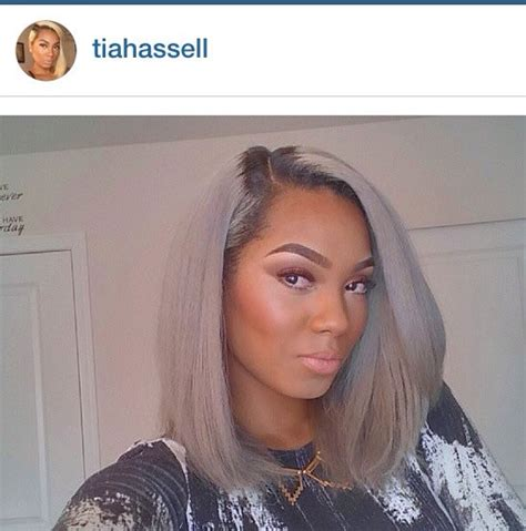 how to tteat grey hair for black women tia hassel silver and grey long bob hair 2 pinterest