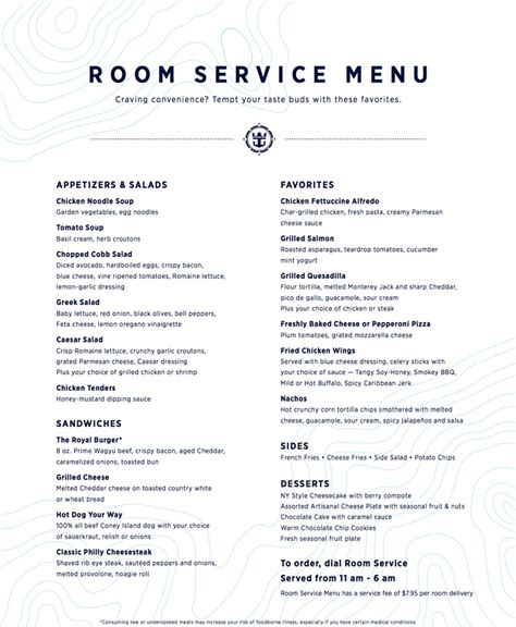 Room Service Menu royal caribbean shares new fleet wide room service menu