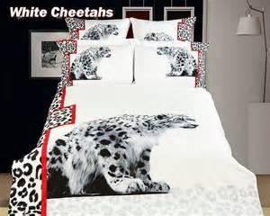 white heavens snow leopard print comforter set
