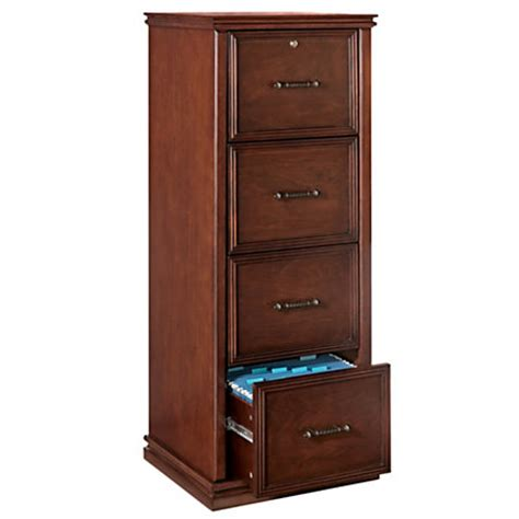 Realspace Premium Wood File Cabinet 4 Drawers 55 25 H X 21 Wood File Cabinets 4 Drawer
