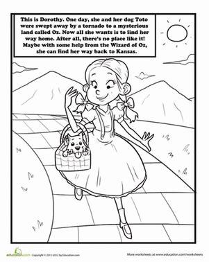 coloring pages of the yellow brick road color dorothy and toto coloring page education com