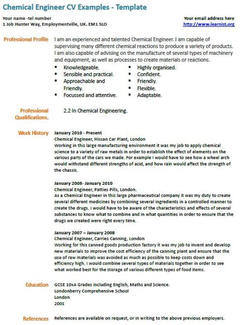 Resume Template Chemical Engineering Chemical Engineer Cv Exle Learnist Org