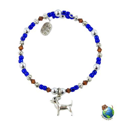 beaded charm bracelets chihuahua beaded charm bracelet silver handmade