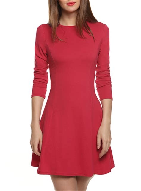 A Line Knit Dress a line dress cotton knit sleeves form fitted