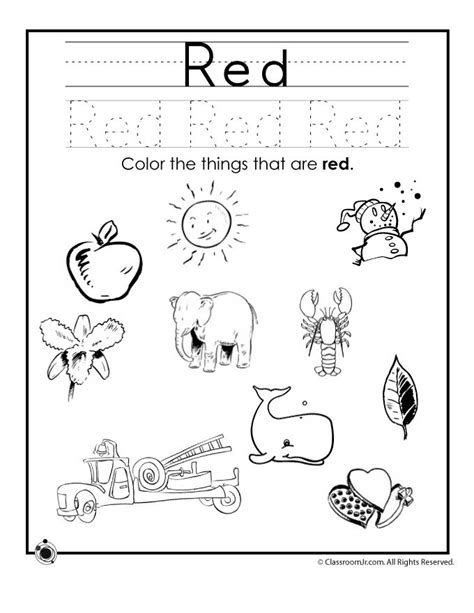 printable worksheets for junior kindergarten learning colors worksheets for preschoolers color red