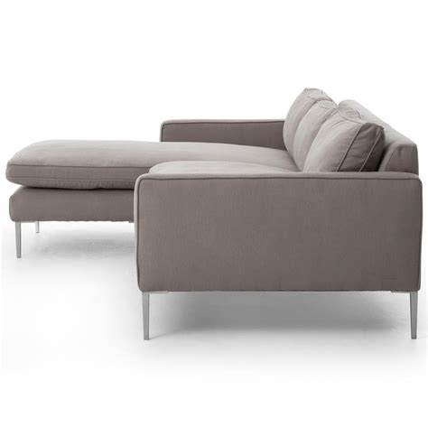 twill sectional sofa trista modern classic pewter twill steel sectional sofa