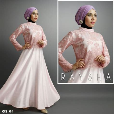 Gamis Anak Rasya baju muslim pesta rasya a209 dusty satin mix brokat by shiraaz