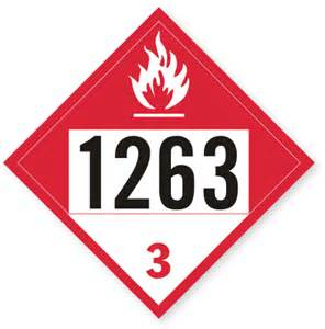 class 3 un1263 paint placard with combustible graphic