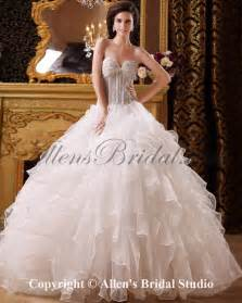 Ball Gown Wedding Dresses Allens Bridal Organza And Satin Sweetheart Floor Length Ball Gown Wedding Dress
