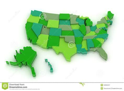 usa map with hawaii and alaska usa map 3d with alaska and hawaii stock illustration