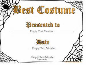 Halloween Costume Certificate Template Halloween Printable