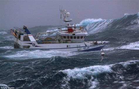 commercial fishing boat jobs uk north sea trawlermen fishing boat battered by waves as