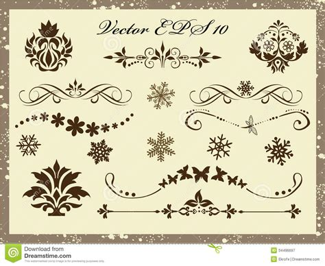 calligraphic text design elements vector vector set calligraphic design elements and page