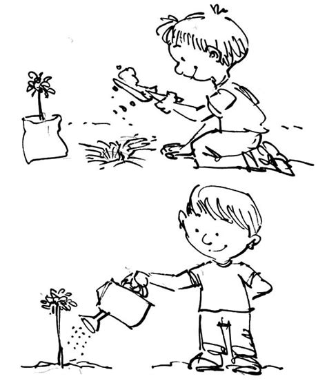 Backyard Apple Tree Plant And Watering Tree On Arbor Day Coloring Pages Best