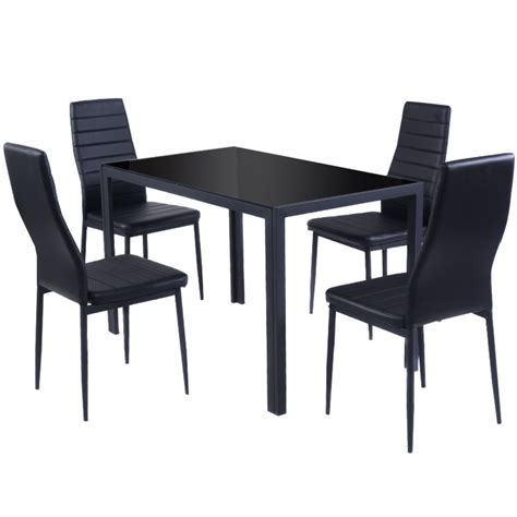 giantex 5 kitchen dining set glass metal table and 4