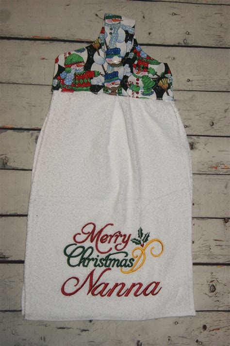 Handmade Towels - handmade hanging tea towel with merry design