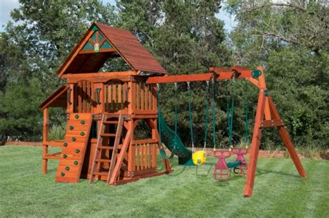houston swing sets wooden playset with playhouse swing