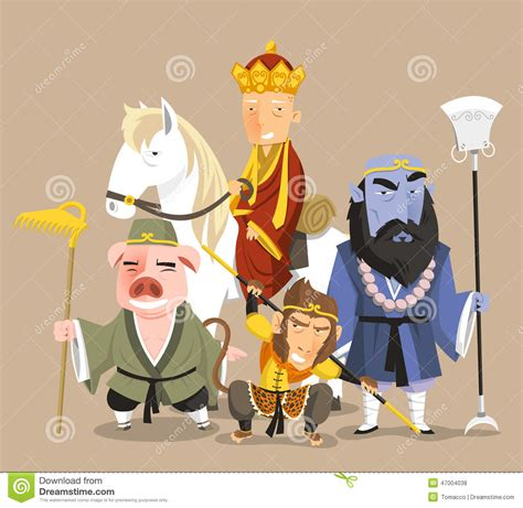 pd de new journey to the west 4 habla sobre la journey to the west cartoon characters stock illustration