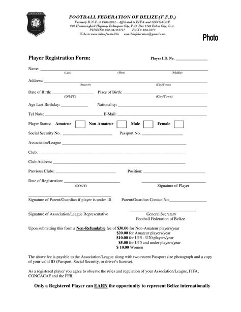 Registration Form Image Collections Download Cv Letter And Format Sle Letter Football C Registration Form Template