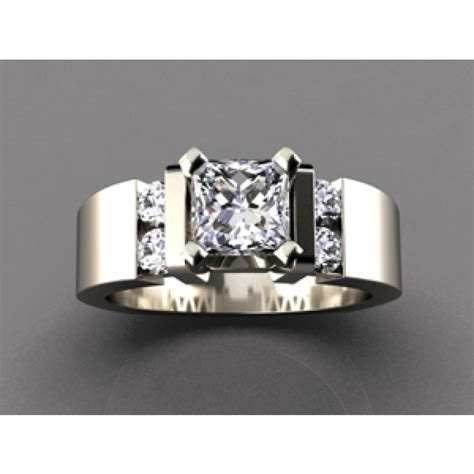 wide band engagement ring for or princess center