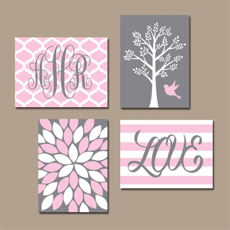 4 Pink Flower Wall D Cor Picture Print pink gray nursery wall canvas or prints monogram name