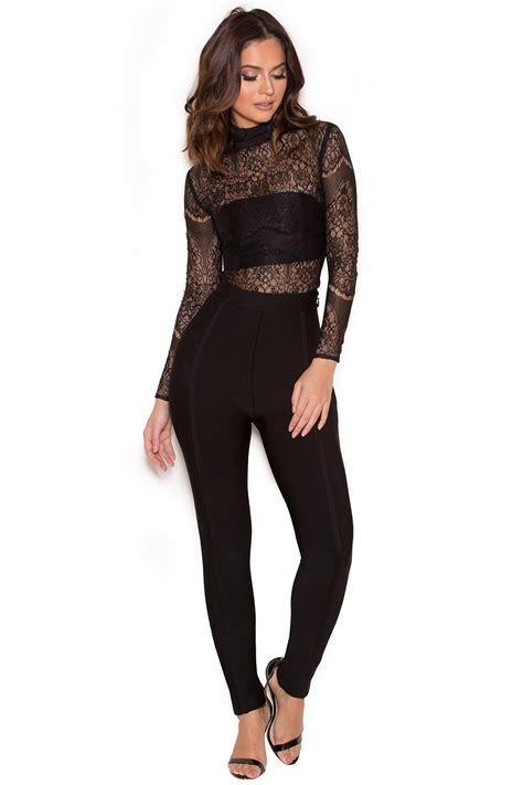 Black Bodysuit clothing bodysuits mayska black sheer lace bodysuit