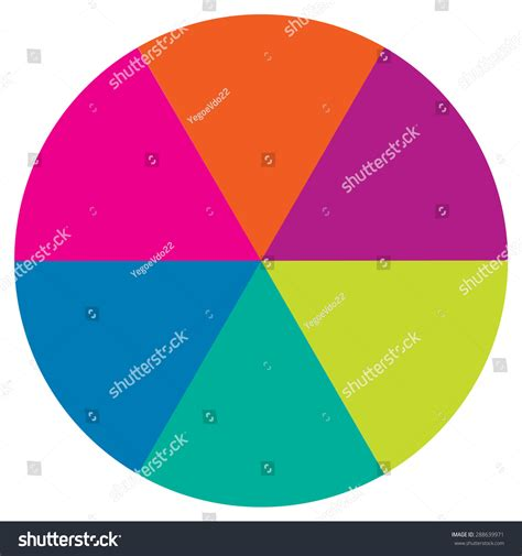 Colored Section by Circle Divided Into Six Equal Parts Stock Vector 288639971