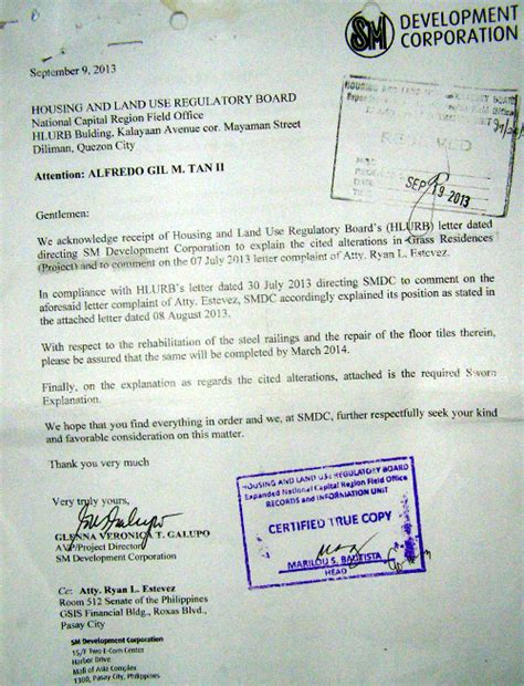 Response Letter To Bir Request For Ocular Inspection Of Smdc Deliverables