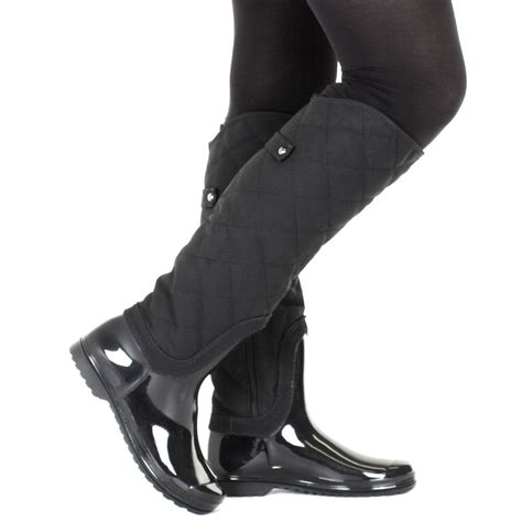 womens black gloss quilted knee high wellies