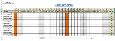 2016 federal leave calendar excel calendar template 2016
