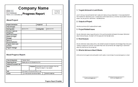business progress report template report templates free business template