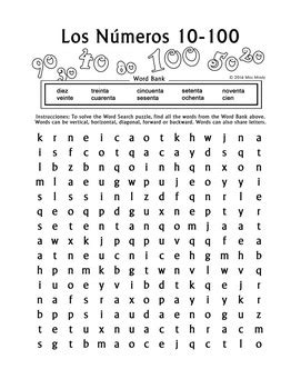 word search math worksheets los numeros numbers