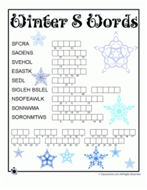 printable january word games winter word puzzle compound words vocabulary worksheets