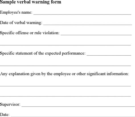 template of verbal warning verbal warning template free premium