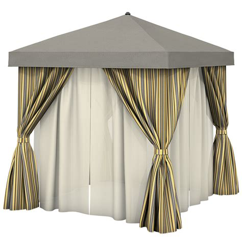 cabana curtains aluminum cabana 10 square w fabric curtains sheer