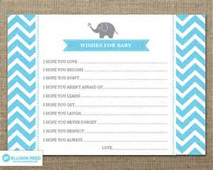 Wishes For Baby Printable Template by Elephant Chevron Baby Shower Wish Card Elephant Baby Shower