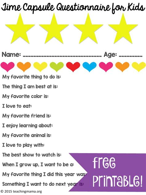 time capsule questionnaire for kids teaching mama