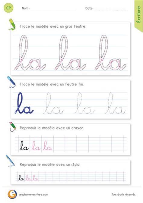 Ecole De Ministres 3 Lettres Fiche D 233 Criture Cp Ce1 233 Crire L Article La En Cursive Ecriture Cursive