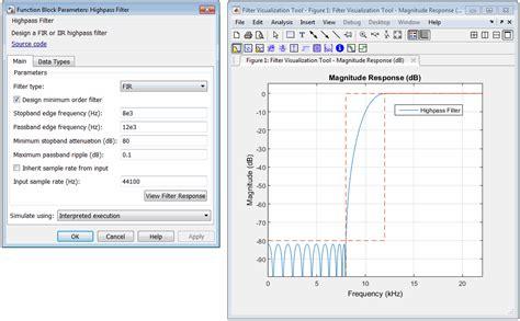 high pass filter matlab code design fir or iir highpass filter simulink