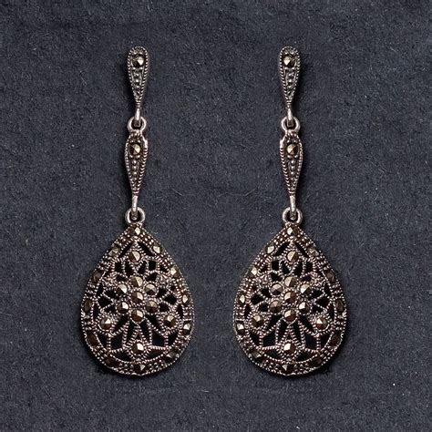 sterling silver marcasite earrings by bloom boutique