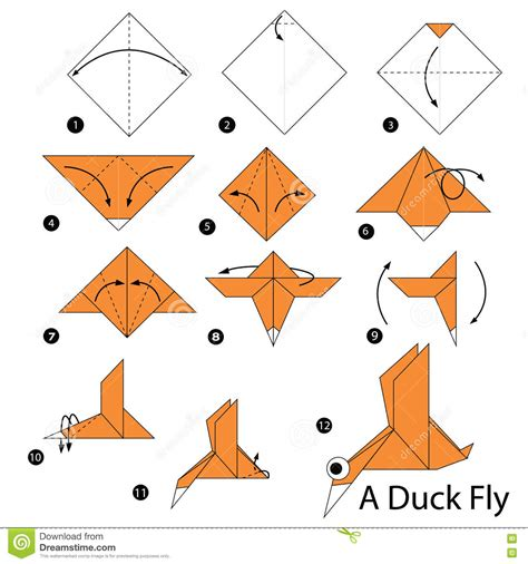 How To Make Paper Duck - step by step how to make origami a duck fly