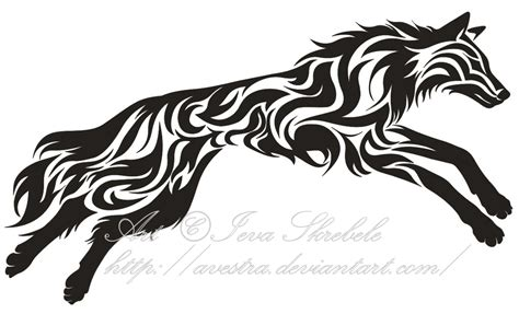 leaping wolf tribal tattoo by avestra on deviantart