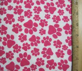 Flannel fabric bright pink dog paw print fat by mysewingnook