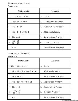 algebraic proofs worksheet with answers proof logic logic algebraic proofs cut match and paste activity